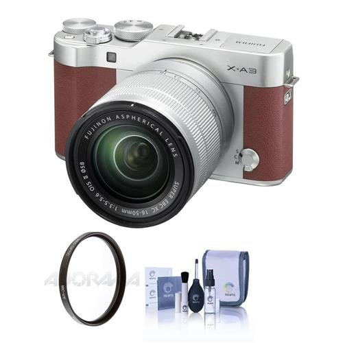 Fujifilm X-A3 Mirrorless Camera with XC 16-50mm f/3.5-5.6 Lens, Brown - Bundle with 58mm UV Filter, Cleaning Kit