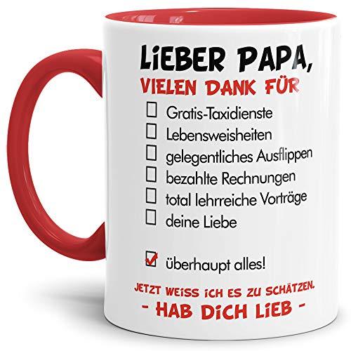 Tassendruck Vatertags-Tasse mit Spruch Lieber Papa - Hab Dich lieb - Familie/Geschenk-Idee/Danke/Innen & Henkel Rot