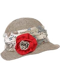 Lierys Damina Leinenglocke mit Blume Leinenhut Stoffhut Damenglocke Damenhut Sommerhut Hut für Damen Damenglocke Stoffhut Damenhut mit Futter Frühjahr Sommer