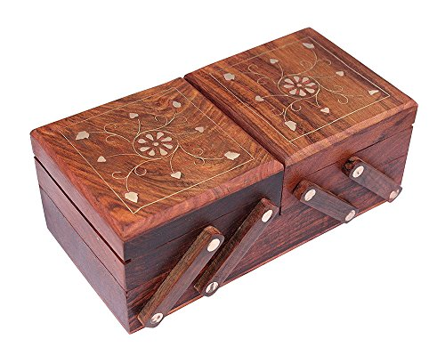 RGRANDSONS Handmade Jewellery Box for Women Wooden Flip Flap Handmade Gift Full Brass Inlay , 8 Inches