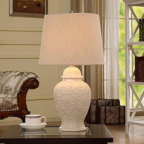 Guo Bianco americano lampada in ceramica da letto comodino lampada moderna europea minimalista da tavolo cinese Lampada studio creativo Soggiorno