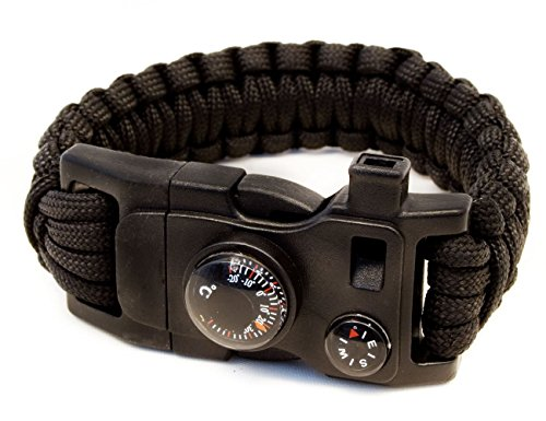 Outdoor saxx® – 15 en 1 Outdoor Paracord Bracelet de Survie noir | Couteau de tournevis, vis de clé, boussole, thermomètre, sifflet, Vis