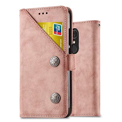 Ferilinso LG Q7/ LG Q7 Plus/LG Q7α Hülle,Retro Leder mit Multifunktions ID Kreditkarten Slot Halter Flip Cover Stand Magnetverschluss Fall für LG Q7/ LG Q7 Plus/LG Q7α(Retro-Roségold)