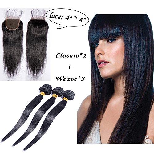Extension tessitura capelli veri brasiliani lisci 300g [40cm, 45cm, 50cm] con lace chiusura frontale virgin human hair nero naturale [40cm, free parte 4