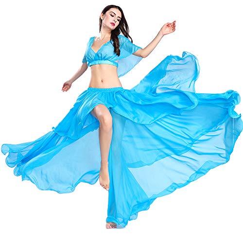 ROYAL SMEELA Bauchtanz Rock Tops Kostüm Anzug Bauchtanz-Set Outfit Performance Top und Rock Kleider Tänzerin Chiffon-Kostüm für Frauen Einfarbig (Rock Kleid Kostüm)