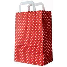 PGV - Lote de 25 bolsas de cartón con asa (22 x 11 x 28 cm), color rojo y blanco, diseño de lunares
