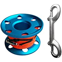 FLAMEER Buceo De Dedo Premium Spool Cave Wreck Reel Alloy 20/30 / 50m Lifeline - Azul y Naranja, 30 m