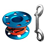 Finger-Spule Mit Stahlklammer-Wrack-Tauchspule 20/30 / 50m Elastische Linie Mit Bolzen-Verschluss-Clips - Blau und Orange, 50m