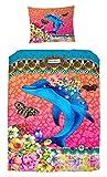 Melli Mello farbigen Kinderbettwäsche Trichta mit Blumen und Delfin, 200 x 135 x 0,5 cm, mehrfarbig