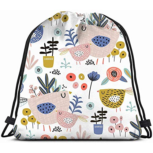 zaino palestra,fiori uccelli foglie vasi borsa con coulisse floreale zaino zaino sacca da palestra sport zaino da spiaggia zaino da spiaggia per ragazze uomini e donne borsa da ballo per adolesce