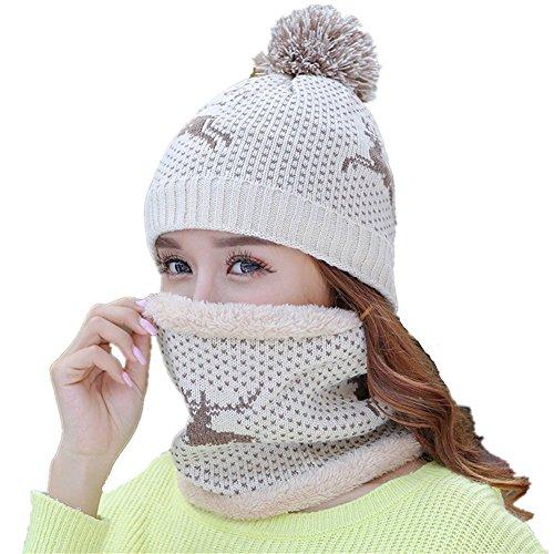 Vimeet Damen Warme Winter Plüsch Mütze Schal Set Wintermütze Gestrickt Beanie...