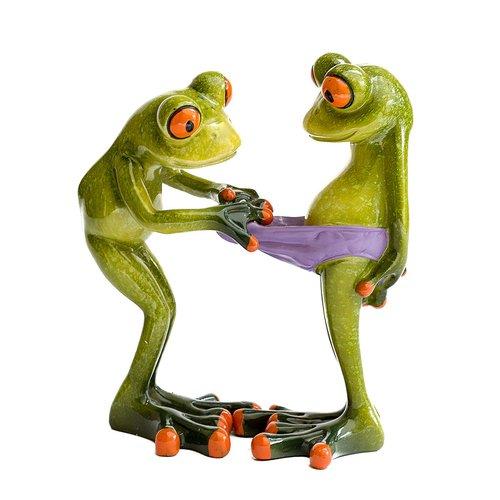 Deko Froschpaar 'Blick in die Hose', Dekofigur Frosch Unterhose, hellgrün, Höhe ca. 13cm
