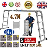 4.7M Multi-Purpose Aluminium Ladder Extension with Tool Tray 14 in 1 Heavy Duty
