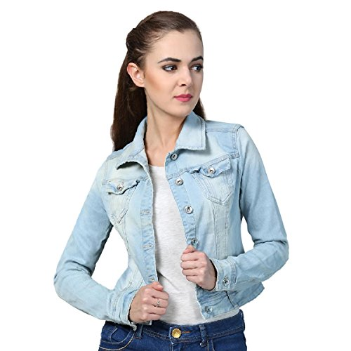 KOTTY Women's Denim Jacket (Sky Blue, XL)