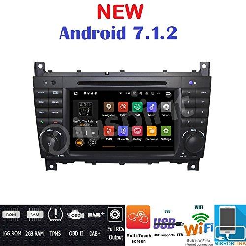Android 7.1GPS DVD USB SD Wifi BT radio 2DIN navegador Mercedes Clase C W203/C220/C230/C240/C280/Clase CLK W209/CLK200/CLK220/CLK 240/Mercedes Clase CLC W203/W467/A209/W219