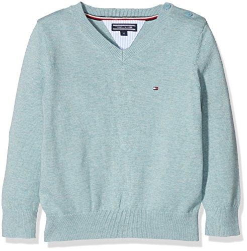 Tommy Hilfiger Jungen Pullover Ame VN Sweater L/S, Blau (Cameo Blue Htr 421), 140 (Herstellergröße: - Hilfiger Tommy Herren Strickjacke
