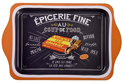 NATIVES 412720 Coup de food Chocolat Plateau Métal Multicolore 25 x 16 x 2 cm