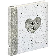 Walther Design UH-156 álbum de la boda OUR LOVE STORY, 28 x 30,5 cm, 50 páginas blancas, gris/blanco
