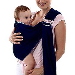 CHIC-CHIC Porte-bébé Sling Bébé Écharpe de Portage Multifonctionpour Enfant Nouveau-né Bleu foncé Taille unique