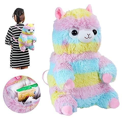 KOSBON 3D Cute Peluche Rainbow Alpaca Doll Sac à dos pour enfants Sac à dos pour enfants.