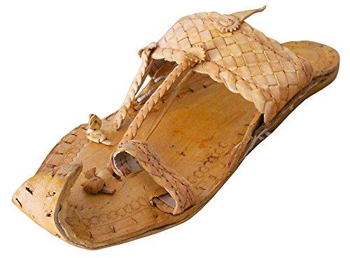 kalra Creations Veste en cuir traditionnel Indien kolhapuri Tongs Camel