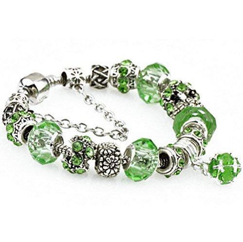 Preisvergleich Produktbild Ziwater Pandora Charms Armband Retro Silber Diamanten Blume DIY Wulstige Armband Handgemachte Beads Modeschmuck (19cm, Grün)
