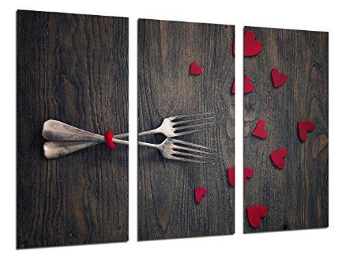 Wandbild - Vintage Love Picture, Halter, rote Herzen, 97 x 62 cm, Holzdruck - XXL Format - Kunstdruck, ref.26488 (Halter Camaras)