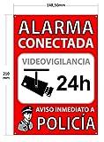 ★ Cartel disuasorio A5 interior/exterior, placa disuasoria PVC expandido, cartel alarma conectada, 21x15 cm rojo ★