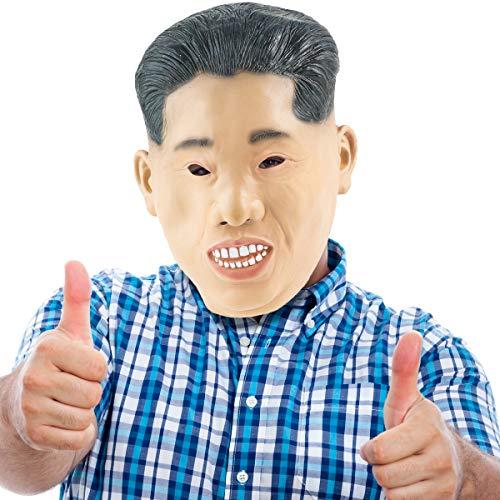 THE TWIDDLERS Máscara de Cabeza de Latex de Caucho Novedad Traje - Kim Jong Un - Dictador Koreano Fiestas de Disfraces de Halloween - Carnavales - Adulto Disfraz