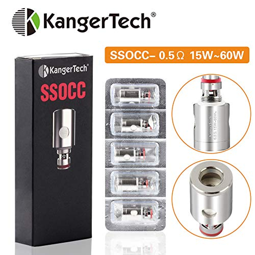Kangertech SSOCC 0.5/1.2ohm Organic Cotton Replacement Coils, 5Pcs E Cigs Accessories for Subtank Mini, Subtank Nano, Toptank Mini, Toptank Nano,Kpin Mini,Subox Mini-C,Subvod,Subvod Mega