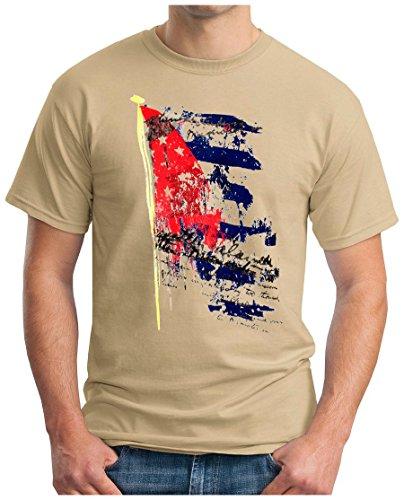 OM3 - CUBA REVOLUTION II - T-Shirt CHE GUEVARA Fidel Castro SOZIALISMUS EXIL EMO, XL, Khaki