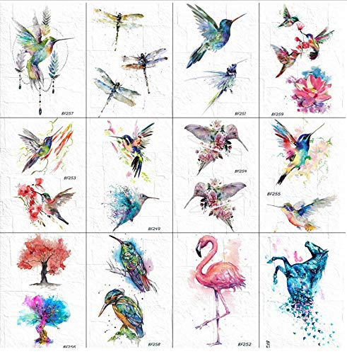 ruofengpuzi Aquarell Flash Temporäre Kolibri Tattoo Weiblichen Strauß Body Art Tattoo Wasserdicht Gefälschte DIY Malerei Tattoo Sticker