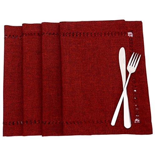 Handgefertigte Hohlsaum Polyester Rechteck Tisch Läufer, Polyester, Light Cranberry, 12x18 inch Set Of 4 -