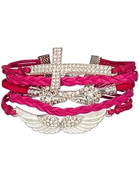 Unendlich Brillant Rot Kreuz Flügel Engel Rosa Strass Armband