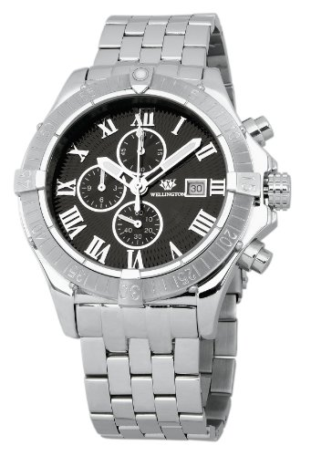 Wellington Donegal Men's Quartz Watch with Black Dial Chronograph Display and Silver Stainless Steel Bracelet WN114-121