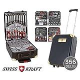 Swiss Kraft 356 teiliger Alu Werkzeugkoffer Trolley mit Werkzeug gefüllt Profi | 4 Ebenen | Teleskopgriff