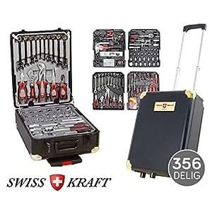 swiss kraft 356 teiliger alu werkzeugkoffer trolley mit. Black Bedroom Furniture Sets. Home Design Ideas