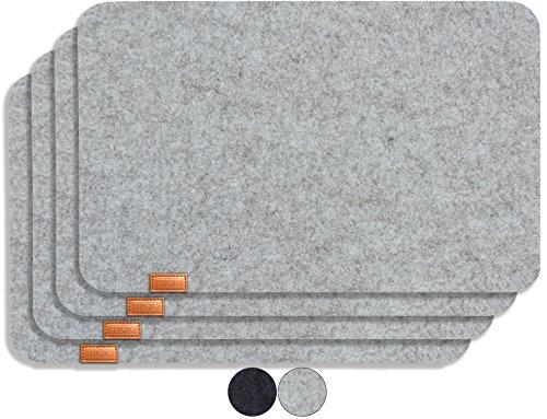 Miqio® - Design Platzset - Filz und Leder - 4 waschbare Premium Tischsets/Untersetzer (Graumeliert)