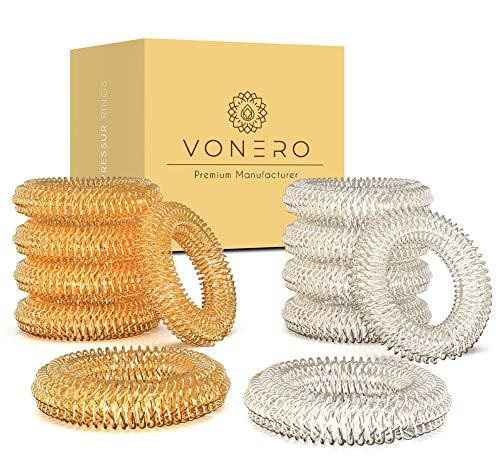 VONERO® Premium Akupressurring [12er Set] - Verbessertes Konzept 2020 - Finger Massage Ring - Akupressur Ringe | Massageringe für Handgelenk | Anti Stress Fingermassagering