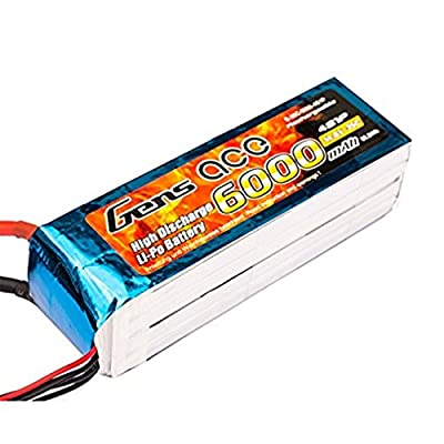 Gens ace 6000mAh 14.8V 35°C Model 4S1P Lipo Pack Battery with EC5Connector for RC Car Helicopter Plane Boat Car FPV Helicopter Aircraft Toy from Gens ace