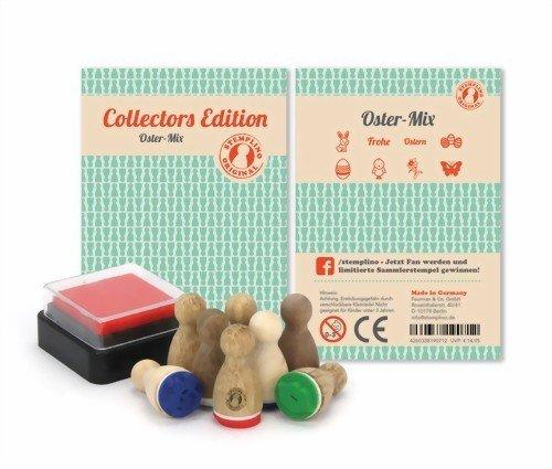 ABVERKAUF Set mit kleinen Mini-Holz-Stempel - 8 Stück - ABVERKAUF Set zu OSTERN mit Text Frohe Ostern, Osterhase, Oserei, ... für Kinder! Auch Erwachsene stempeln gerne - Verschönern von Einladungskarten, Briefen, Tischkarten, Geschenken und vielem mehr