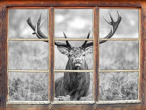 Big cerfs dans le domaine de l'art B & W Fenêtre en 3D look, mur ou format vignette de la porte: 92x62cm, stickers muraux, sticker mural, décoration murale