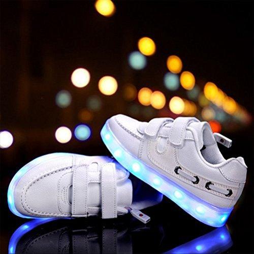 [Présents:petite serviette]JUNGLEST® Kid Garçon Fille de recharge USB LED Light Up Sport Chaussures de course Clignotant Snea Blanc