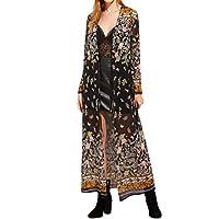Kimono Yukong Womens Long Boho Floral Print Cardigan Tops Blouse (XL, Black)