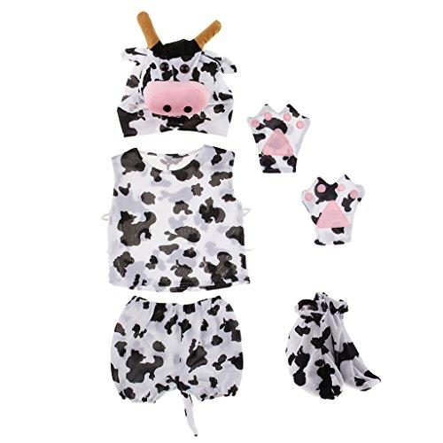 F Fityle Jungen Mädchen Tierkostüm Halloween Fasching Karneval Verkleidung Cosplay - Kuh