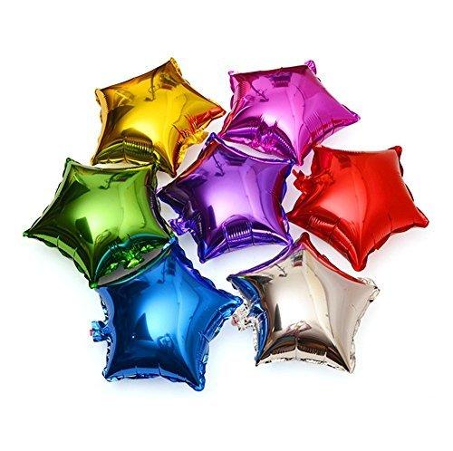 Da.Wa 50pcs de Globos de Papel de Aluminio de Color Mezclado para la Decoración de la Boda del Partido Cumpleaños-Estrella de Cinco Puntas