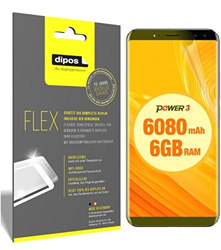 dipos I 3X Schutzfolie 100% passend für Ulefone Power 3 Folie (Vollständige Bildschirmabdeckung) Bildschirmschutzfolie