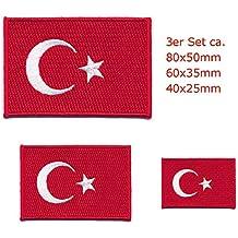 3 Türkei Flaggen Türkiye Cumhuriyeti Flags Ankara Patch Aufnäher Aufbügler 0643