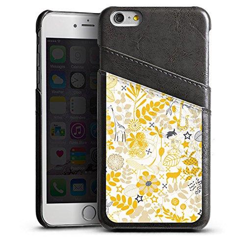 Apple iPhone 6 Housse Étui Silicone Coque Protection Motif Motif Fleurs Étui en cuir gris