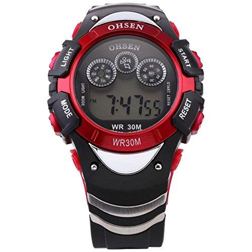 UKCOCO OHSEN AD0815 Wasserdichte Männer Jungen 7-Modus-Hintergrundbeleuchtung Digitalanzeige Quarz Sportuhr mit Stoppuhr/Datum / Alarm (Rot)